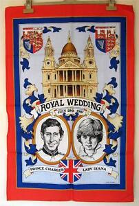 Royal Wedding Tea Towel - Prince Charles & Princess Diana - 1981 - Cotton