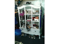 SHABBY CHIC FRENCH STYLE ARMOIRE, CABINET - WHITE, WITH DRAWERS