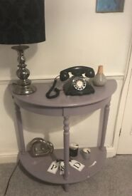 Grey Console table and lamp