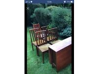 Folding dining table with 4 chairs (fair condition)