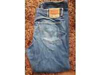Levi 505 levis strauss jeans 38x34 Fit As 36x32 - Used Needs New Zip