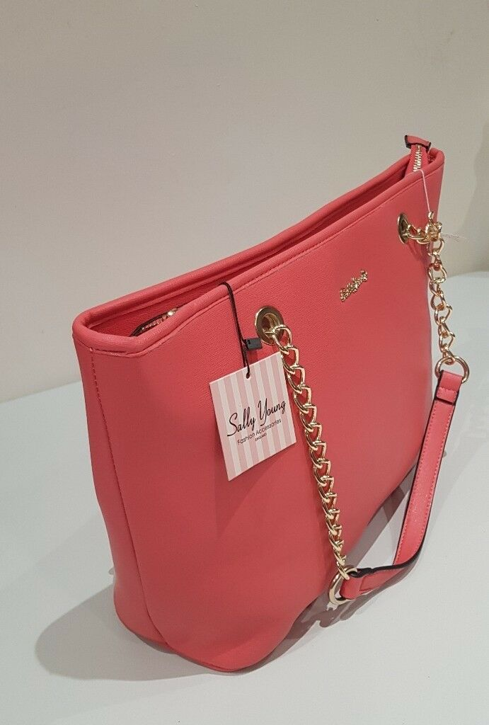 Women Fashion Handbag With Long Chain Handles Pink In Handsworth