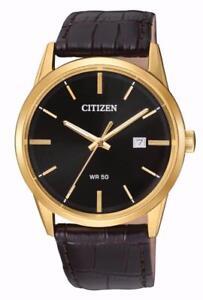 Citizen Quartz BI5002-06E Mens Gold Tone Leather Band Black Dial Date Watch