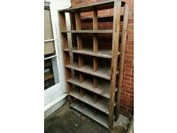 vintage wooden military mid century racks shelves bookcase retail display