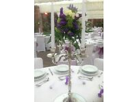 Beautiful silver coloured candelabras. Perfect for wedding centrepieces. 10 available for hire.