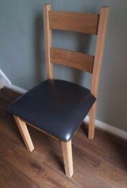 Oak Chair dark brown faux leather seat