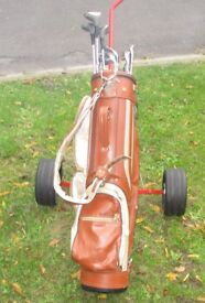 Full set of golf clubs including bag & trolley