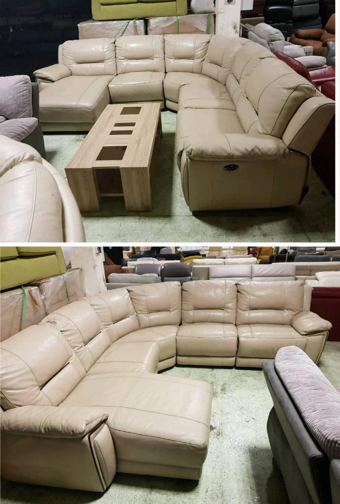 Custard cream leather corner sofa