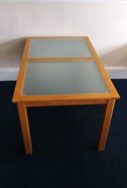Large wood and glass table