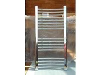 Curved Chrome Centrally heated Towel Rail / Radiator H 900mm x W 450mm x D 16mm