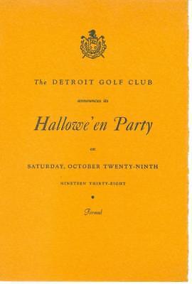 1938 Detroit Golf Club Halloween Party Invitation Doris Eaton Arthur Murray](Halloween Party Program)
