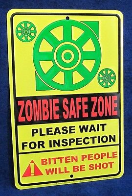 ZOMBIE SAFE ZONE - *US MADE* Embossed Sign - Man Cave Garage Bar Pub Wall Decor - Zombie Pub