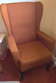 Wing chair with Queen Anne legs for upcycle
