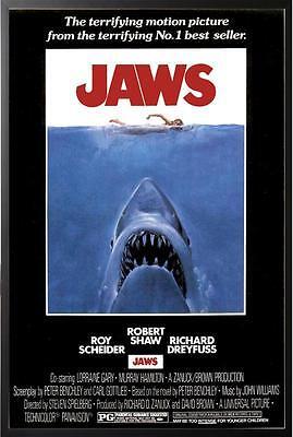 Jaws Steven Speilberg 24x36 Movie Poster in Black Wood