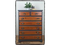 Rustic Solid Pine Chest of drawers hand painted in Ash Fusion Mineral Paint Upcycled