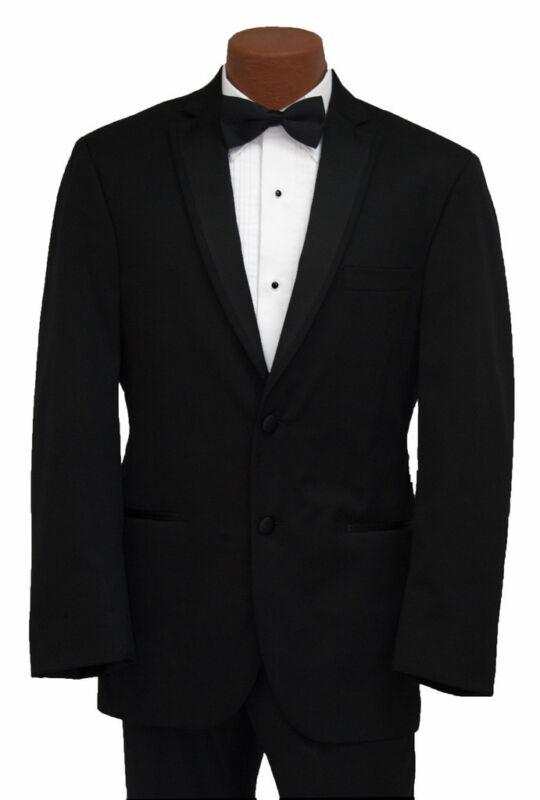 43R Mens Joseph Abboud Soft Luxurious 130s Wool Slim Fitted Black Tuxedo Jacket