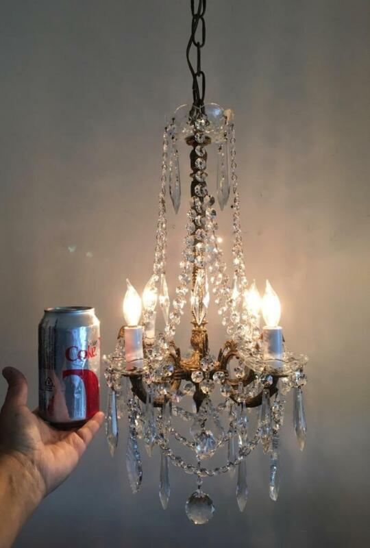 ANTIQUE VTG EUROPEAN BRASS w FRENCH & CZECH CRYSTAL PETITE SWAG TINY CHANDELIER