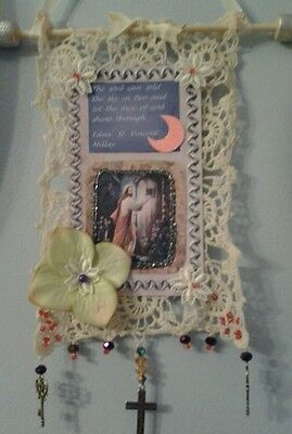 Antique doilie mixed media wall hanging with poem & Jesus picture collage .ooak