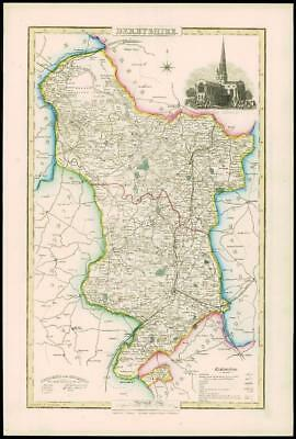 1846 - Original Antique Map of DERBYSHIRE by Slater ASHBOURNE CHURCH Colour