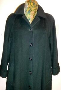 Canada HOLT RENFREW Alpaca Wool Long Coat Winter Womens 12 14 Large Hunter Green Quality Jacket Winter Wool Blend Poss m