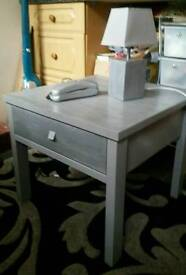 Silver grey table with large drawer