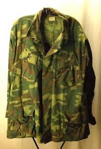 RARE-LARGE-Slant-Pocket-Camouflage-Jungle-Jacket-ERDL-Army-Viet-Nam-Coat-Mans