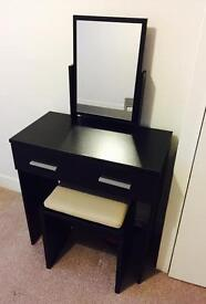 Black high gloss dressing table and stool