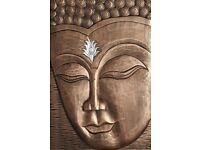 Fabulous Copper Coloured 3D Enlightened Wooden Buddha Wall Art
