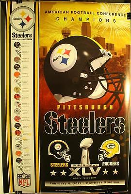 Super Bowl Xlv Pittsburgh Steelers Afc Champions 36 X 24  Poster New 2011 Scores