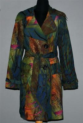 Rare Alberto Makali Abstract Faux Suede Velvet Feel Belted Trench Coat Wms 6 EXC Belted Velvet Coat