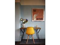 Rustic Handmade Industrial Desk &Chair Iron leg table 100cm x 52cm