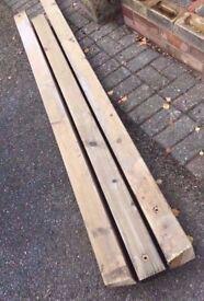 3 lengths of 4 x 4 seasoned wood posts