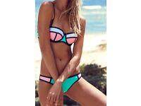 Beautiful green & pink & white colour 2pcs bikini swimwear size 6 - 8 NEW