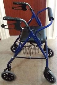 stroller shopper trolley with seat and basket and brakes , folds for storage , as new