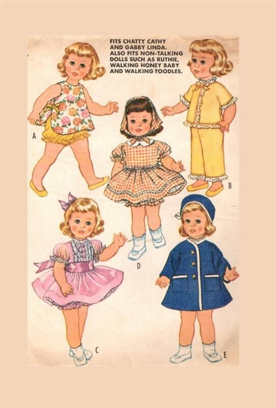 """Doll Clothing PATTERN 6465 for 19"""" 20"""" Chatty Cathy Gaby Linda Ruthie Honey Baby"""