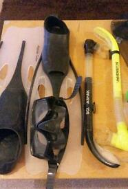 Flippers, mask and two snorkels