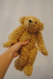 Bespoke Handmade traditional bear with curly faux fur, jointed limbs, glass eyes, and humped back