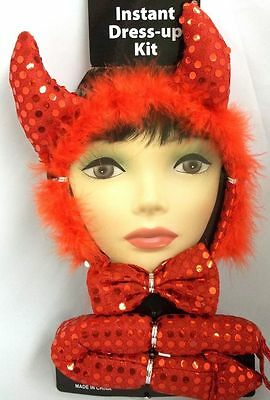 Sexy Red Lady Devil Sequin Horns Tail Set Halloween Costume Instant Kit (Halloween Devil Lady)