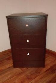 Dark Brown Bedside Table (Set of drawers)