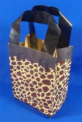 50 Qty. Leopard Frosted Plastic Retail Shopping Bags W Handles 5 X 3 X 7