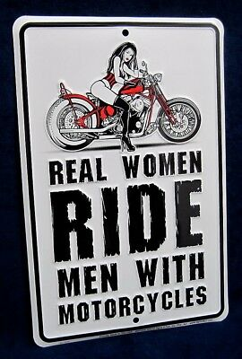 REAL WOMEN RIDE -*US MADE* Embossed Sign - Man Cave Garage Bar Rec Rm Wall Decor - Cave Women