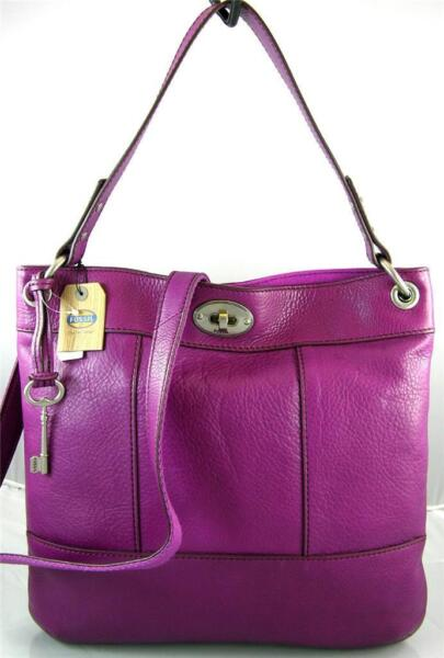 FOSSIL HUNTER LEATHER HOBO CROSS BODY BAG