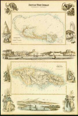 1874 Large Original Antique Map - BERMUDA  SOMERS ISLAND & JAMAICA Fullarton LM5