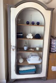 Shabby Chic Vintage French Cabinet with glass front