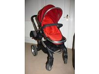 iCandy Peach Stroller incl Carrycot, car seat adaptors and Lascal Maxi Buggy Board
