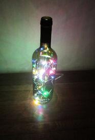 Multi-coloured LED (Battery) Mood Lighting Inside Upcycled Green Wine Bottle