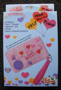 Make-your-own-ZIP-FELT-GIRLS-PURSE-sewing-art-craft-KIT-brand-new