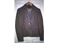Boden ladies jacket, brown with aqua spots, size 12.