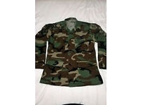 US Army BDU shirt woodland camo with combat pacthes and rank