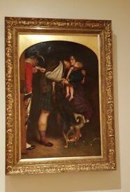 antique 19th century oil painting in original gilt frame, large impressive painting signed